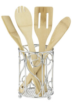 Home Basics Scroll Collection, Chrome Cutlery Holder